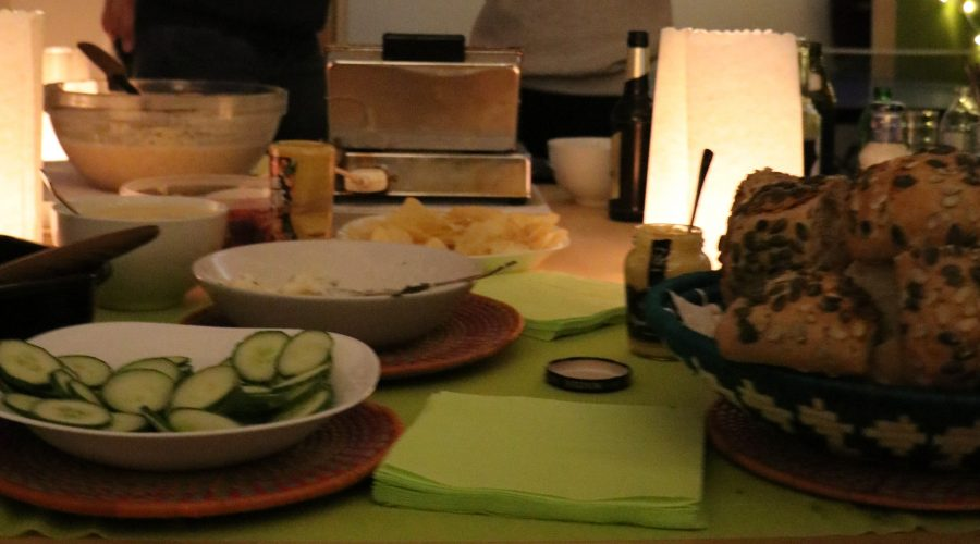 We had delicious barbecue, a variety of salads and a special hit was the waffle station!